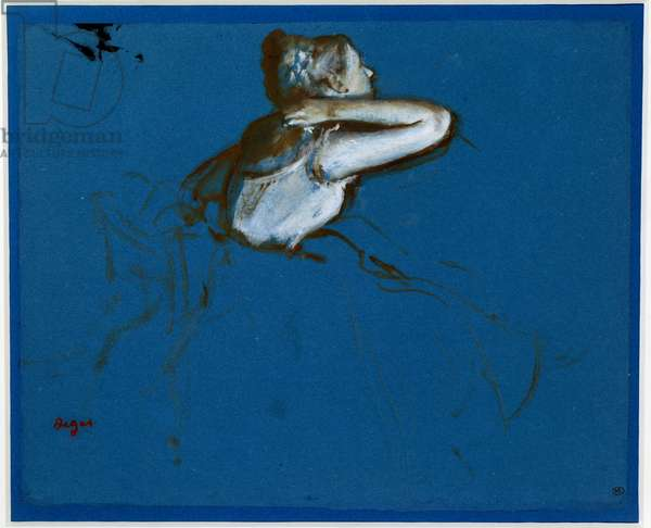 Sitting dancer turned right Essence on blue paper by Edgar Degas (1834-1917) 1873 Dim. 0,23 x 0,29 m Paris. Orsay Museum