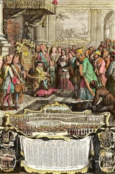 Reception of Mehemet Effendi Turkish ambassador of the great Sultan Achmet by Louis XV on 21 March 1721 at the Tuileries. Engraving of the 18th century. Private collection.