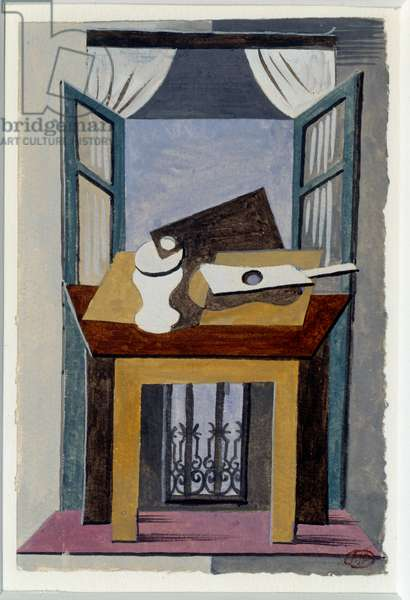 Still life on a table in front of an open window. Painting by Pablo Picasso (1881-1973), 1919. Gouache. Dim: 0,16 x 0,10m. Paris, Musee Picasso.