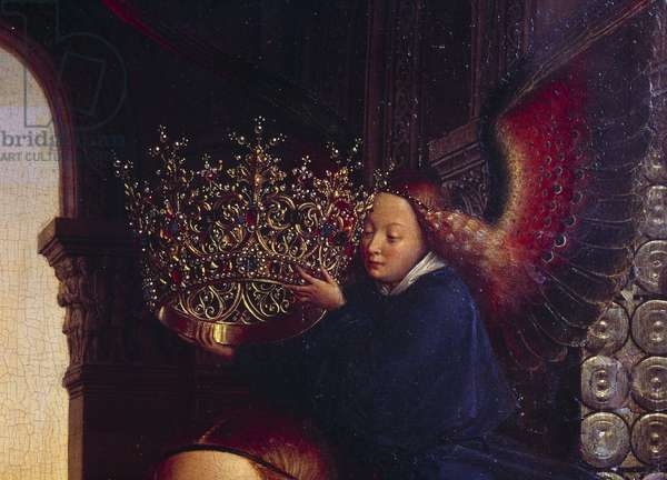 """An angel crowning the Virgin. Detail of """""""" The Virgin of Chancellor Rolin"""""""""""" Nicolas Rolin (1376-1461) was Chancellor of Burgundy under Philippe Le Bon and founder of the Hospices de Beaune in 1443. Painting by Jan van Eyck (1390-1441), 15th century. Sun 0,66x0,62 m Paris,"""