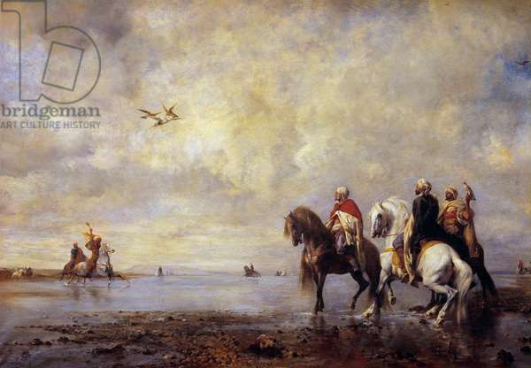 The heron hunt Arab horsemen hunting heron. Painting by Eugene Fromentin (1820-1876) 1865 Sun. 0,99x1,42 m Chantilly, Musee Conde