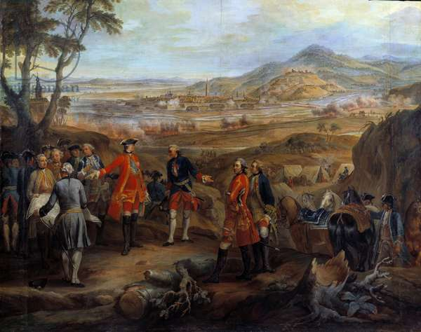 """Campaign of Flanders (1745-1747): """""""" The siege of Fribourg in Brisgau on 11 October 1744"""""""""""" Louis XV directs the military operations. Painting by Pierre Nicolas Lenfant (1704-1787) 18th century Sun. 2,75x2,5 m"""