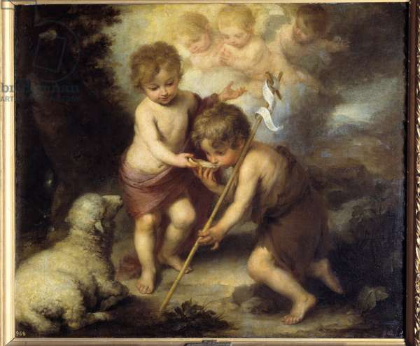 Children in the shell. Painting by Bartolome Murillo (1618-1682), 17th century. Oil on canvas. Dim: 1,04 X 1,24m. Madrid, Musee Du Prado