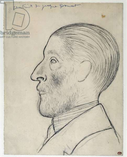 Portrait of the mecene, designer and collector Jacques Doucet (1853-1929) Black pencil drawing by Pablo Picasso (1881-1973) 1915 Dim. 0,31x0,24 m Paris, Musee Picasso