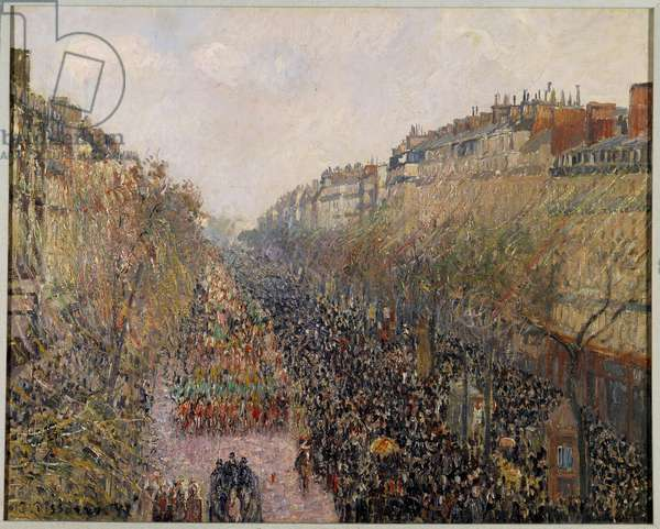 Day of Mardi Gras on Boulevard Montmartre in Paris in 1897 Painting by Camille Pissarro (1830-1903) 1897 Los Angeles. Hammer Museum