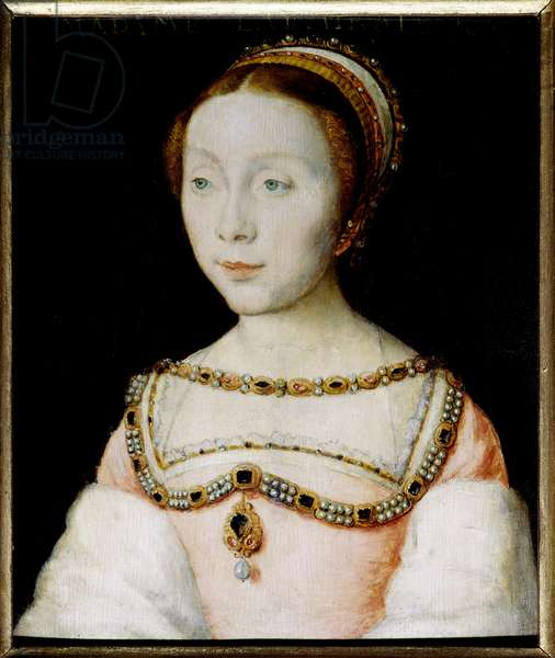 Portrait of Francoise de Longwy, wife of Admiral Philippe Chabot, widow in 1543, remarried in 1545 to Jacques de Peruse, lord of Ecars. Painting by Corneille De Lyon (Corneille de The Hague) (1500/1510-1574). Oil on wood. Dim: 0.13 x 0.16m. Versailles, Musee Du Chateau - Portrait of Francoise de Longwy, wife of Admiral Philippe Chabot, widowed in 1543, remarried to Jacques Peruse, Lord of Ecars, in 1545. Painting by Corneille de Lyon painting (Corneille de The Hague) (1500/1510-1574). Oil on wood. 0.13 x 0.16 m. Castle Museum, Versailles, France