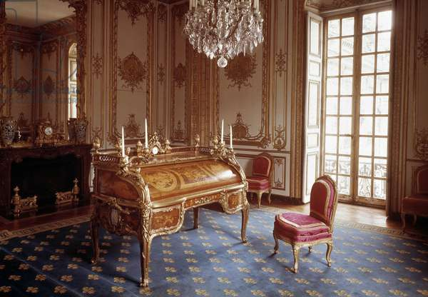 Louis XV style: office with cylinders of the interior cabinet of Louis XV realized by Jean Francois Oeben (1720-1763) and Jean Henri Riesener (1734-1806) 1760-1769 Versailles, musee du chateau