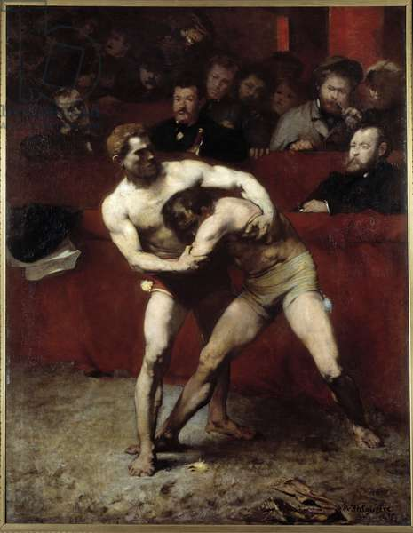 Les wrestlers Painting d'Alexande Falguiere (1831-1900) 1875 Sun. 1,91x2,4 m Paris, musee d'Orsay