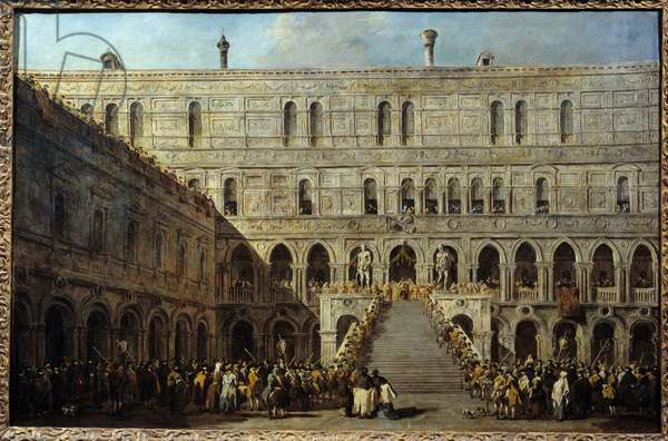 The coronation of the Doge of Venice on the staircase of the Giants at the Ducal Palace. Painting by Francesco Guardi (1712-1793), between 1766 and 1770. h/t 0.67 x 1.01m. Paris, Musee Du Louvre