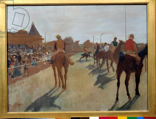 """The defile says """""""" race horses in front of the stands"""""""" Painting by Edgar Degas (1834-1917) 1866-1868. Dim. 0.46 x 0.61 m. Paris, Musee d'Orsay"""