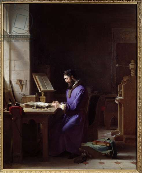 Johannes Gensfleisch Gutenberg (1400-1468) inventing the printing press The German printer is a representative handling characters at his office. Painting by Jean Antoine Laurent (1763-1832) 1830 Grenoble, Musee des Beaux Arts