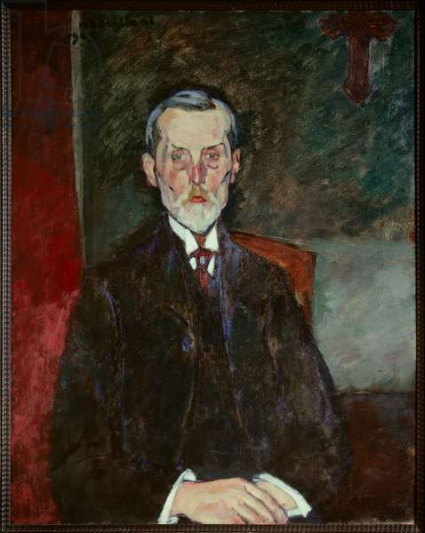 Portrait of Jean Baptiste Alexandre at the Crucifix Painting by Amedeo Modigliani (1884-1920), 1909 Sun. 0,92x0,75 m Rouen, Musee des Beaux Arts
