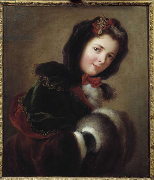 A young girl dressed for winter with sleeve and cape. Painting of the French School, 18th century. Marseille, Museum of Fine Arts