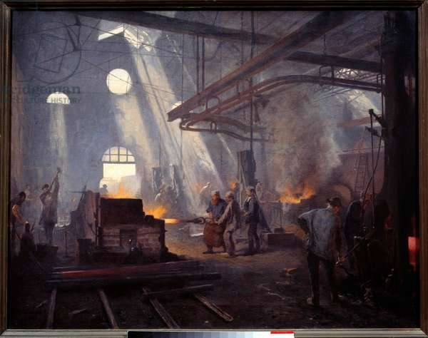 A forge. Painting by Fernand Cormon (1845-1924), 1893. Oil on canvas. Dim: 0.72 x 0.90m. Paris, Musee d'Orsay
