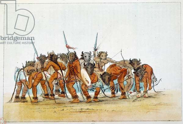 Indians of America: Meeting of Mandans warriors with their trophee of buffalo head on their head. Illustration by George Catlin (1794-1872), 19th century. Paris, B N
