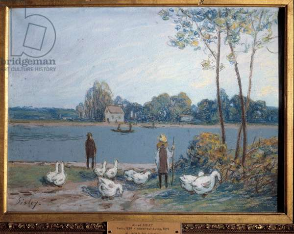 On the edge of the Loing. Painting by Alfred Sisley (1839 - 1899), 19th century. Oil on pastel. Dim: 0,30 x 0,40m. Rouen, Museum of Fine Arts