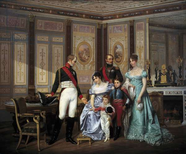 "The Impress Josephine de Beauharnais (1763-1814) received the Tsar Alexandre I (1777-1825) to whom she recommended her children in May 1814 The Impress is surrounded by Eugene Rose de Beauharnais dit Prince Eugene (1781-1824), Hortense de Beauharnais (1783-1837) and the children Napoleons and Louis Napoleon (future Napoleon III) in May 1814"" ""Painting by Victor Vigneau (1819-1879) 1864 Sun. 0.59 x 0.75 m Malmaison, musee du chateau"