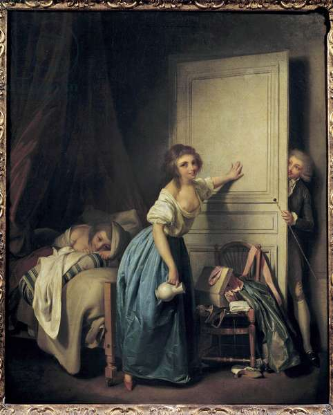 The prying A curious voyeur spying on two little girls. Painting by Louis Leopold Boilly (1761-1845). 18th century. Paris. Musee Cognacq Jay