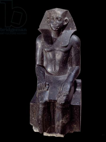Ancient Egyptian Art: Statue of King Sesostris III age. Diorite sculpture around 1870 BC (12th dynasty, circa 1963-1786). From Medamoud (Egypt). Height: 1.200 m. Paris, Musee Du Louvre