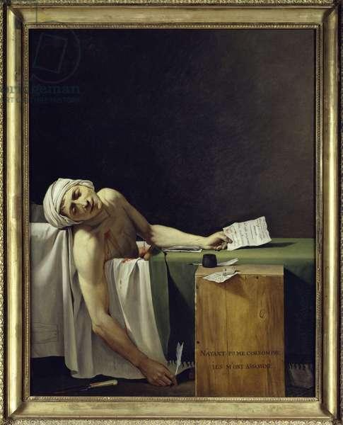 The Death of Marat (John Paul Marat (1743-1793) murdered). Painting by Jacques Louis David (1748 - 1825). 1793 Sun. 1,62x1,3 m. Louvre Museum Paris