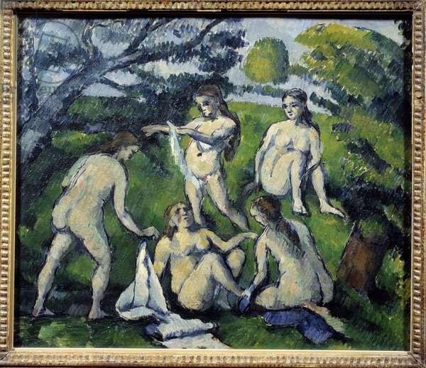 Five Bathers Painting by Paul Cezanne (1839-1906). 1877-1878 Sun. 45.5x55cm. Paris, Musee Picasso