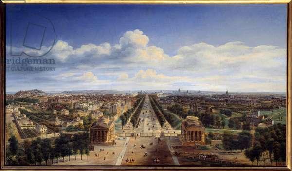 View of Paris taken from the Arc de Triomphe de l'Etoile Painting by Auguste Cadolle (1782-1849) 1843 Sun. 0,48x0,83 m Paris, Musee Carnavalet