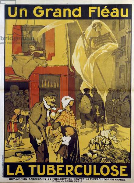 First World War: campaign poster to fight tuberculosis. Death holding a sickle threatens the most vulnerable families. 1918. Drawing by F. Galais. Paris, Museum of the Two World Wars