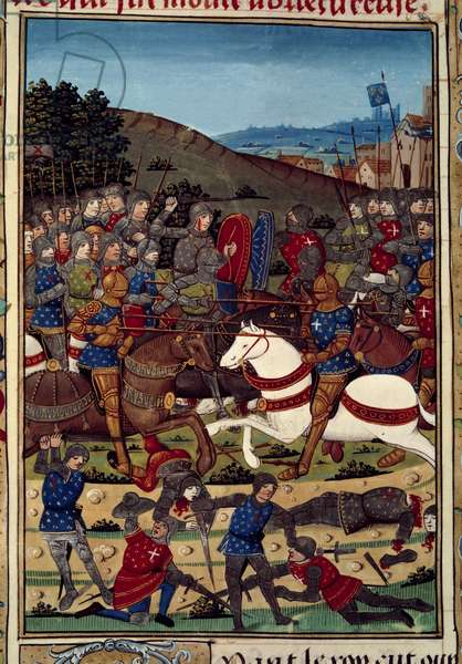 """War of the League of Public Good (or revolt of nobles): the battle of Montlhery on 16/07/1465 between Louis XI (1423-1483) and Charles, Count of Charolais (future Charles the Temeraire) (1433-1477). Miniature illuminated from the manuscript """""""" Vigiles du roi Charles VII"""""""" in the chronicles of Jean Chartier, edited by Martial d'Auvergne (1430-1508), 1477-1483 Paris, B.N."""