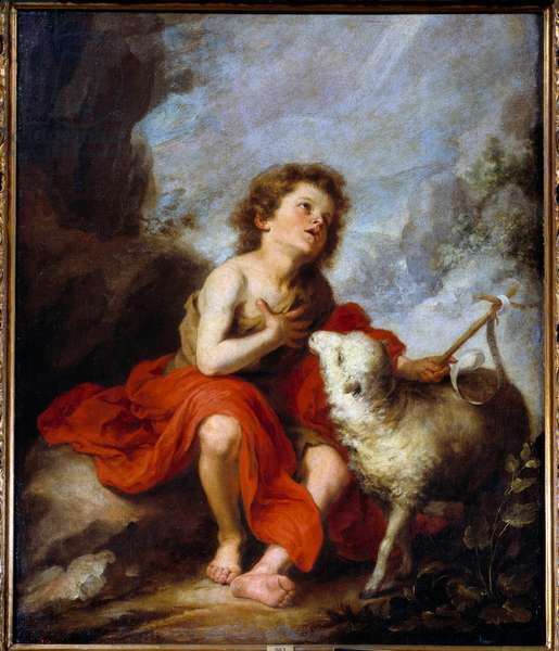 Representation of Saint John the Baptist Child Painting by Bartolome Murillo (1618-1682) 17th century Sun. 1,21x0,99 m Madrid, Prado Museum