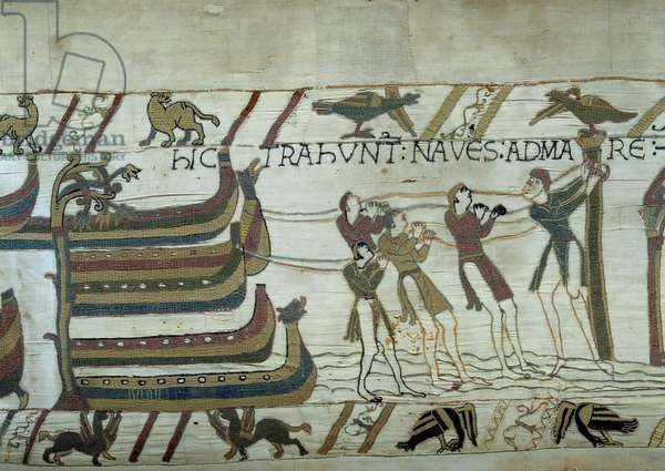 The conquete of England by the army of Duke of Normandy William the Conquerant (1027-1087): barely built ships are put to sea Detail of the tapestry of Bayeux or Embroidery of Queen Mathilde, 1077 (70,34x050 m). Library of Bayeux. Bayeux, Calvados