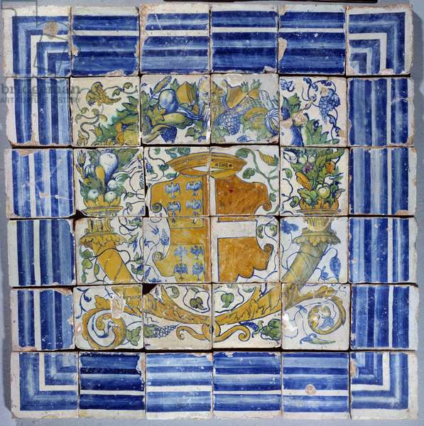 Pavement with arms of Madeleine de Savoie. Faience of Masseot Abaquesne (known between 1526-1564) 16th century Enouen. National Renaissance Museum