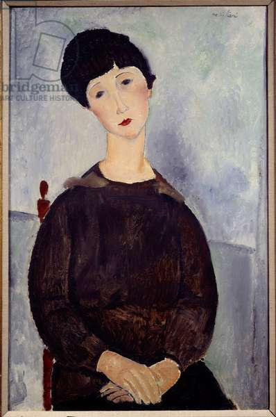 Portrait of a Sitting Brown Girl Painting by Amedeo Modigliani (1884-1920). 1918 Sun. 0,36 x 0,48 m Paris. Picasso Museum
