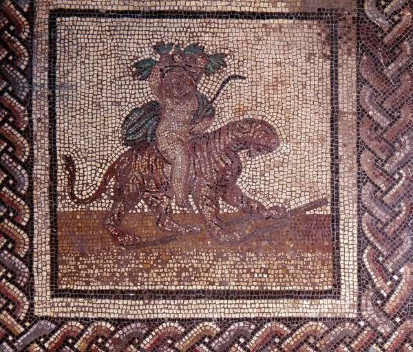 Gallo Roman Art: mosaic paving representing a rustic calendar. Allegory of autumn sitting on a tiger. End 2nd, beginning of 3rd century after JC. From Saint-Romain-en-Gal (Rhone). Saint Germain en Laye, National Museum of Archeology