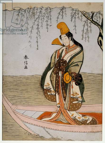 Asanuma's boat. Japanese print by Suzuki Harunobu (1724-1770) Ukiyo-e style, circa 1768. Paris, Musee Guimet