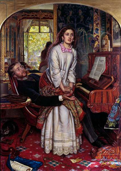 The Awakening Consciousness A young woman in sin jumps suddenly, plagued by spiritual revelation, seeking to escape her lover's arms. Painting by William Holman Hunt (1827-1910), (Raphaelism) 1853 Sun. 74,9x55,8 cm London, Tate gallery