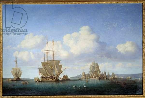 La rade de Brest in 1844 Painting by Jules Achille Noel (1815-1881) 1844 Rouen, Musee des Beaux Arts