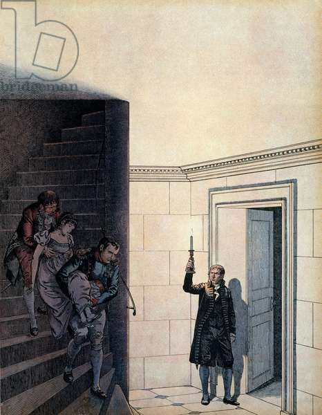"""Emperor Napoleon I Bonaparte (1769-1821) and his chamberlain after the announcement of her divorce in 1809, the Emperor Josephine (1763-1814) had vanished in her bedroom. In """""""" Napoleon"""""""" by Georges Montorgueil. Illustration by Jacques Marie Gaston Onfray de Breville dit JOB (1858-1931), 1921. Private collection."""