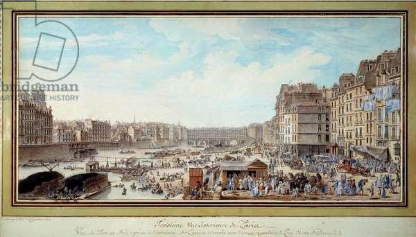 View of the port at the whale taken from then the old Marche aux veaux towards the bridge Notre-Dame in Paris Watercolour by Louis Nicolas de Lespinasse (1734-1808). 1782. Paris, Musee Carnavalet