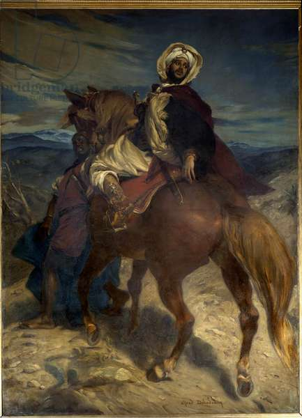 """Reconquista: """""""" The Farewell of King Boabdil to Granada"""""""" King Boabdil (Abu Abd Allah) handed over the keys of the city to the Spanish rulers on 02/01/1492. Painting by Alfred Dehodencq (1822-1882) 19th century. Dim. 3,7x2,7 m. Paris, Musee d'Orsay"""