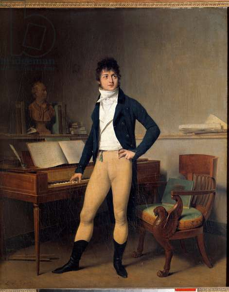 Portrait en pied de Francois Adrien Boieldieu (1755-1834), French composer. Painting by Louis Leopold Boilly (1761-1845), 1800. Oil on canvas. Dim: 0.65 x 0.54m. Rouen, Musee Des Beaux Arts - Full-length portrait of Francois Adrien Boieldieu (1755-1834), French composer. Painting by Louis Leopold Boilly (1761-1845), 1800. Oil on canvas. 0.65 x 0.54 m. Beaux-Arts Museum, Rouen, France
