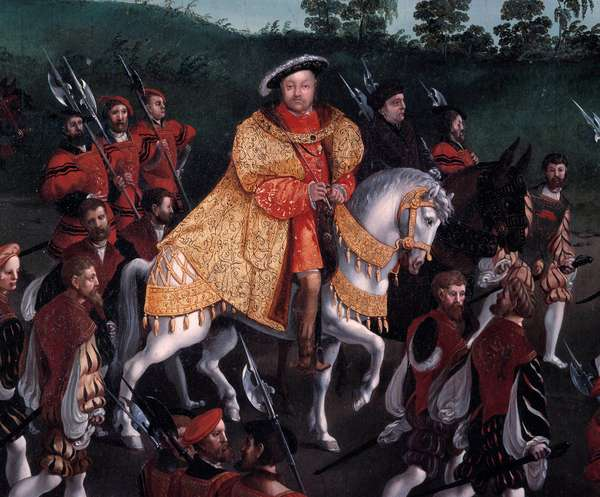 Interview of Francois I and Henry VIII at the camp of the Golden Sheet on June 7, 1520 Detail depicting King Henry VIII of England (1491-1547) on horseback. Painting by Friedrich Bouterwerk (Bouterwek) (1806-1867). 1845. Dim. 3.4 x 1.7. Versailles, Chateaux de Versailles et de Trianon - Interview of Francois I and Henry VIII at the Field of the Cloth of Gold on 7 June 1520. Detail representing the King of England, Henry VIII (1491-1547) on horseback. Painting by Friedrich Bouterwerk (Bouterwek) (1806-1867).1845. 3.4 x 1.7. Versailles and Trianon Castles, Versailles, France