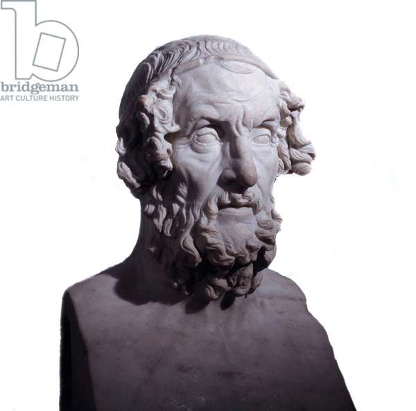 Marble bust of the Greek poet Homere dating from the 1st or 2nd century AD. Meet in Campania, Italy. British Museum, London.