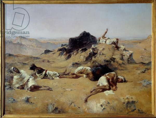 The land of thirst Men dying in the desert because of the heat of the sun. Painting by Eugene Fromentin (1820-1876) 1869 Sun. 1,03x1,43 m Paris, musee d'Orsay