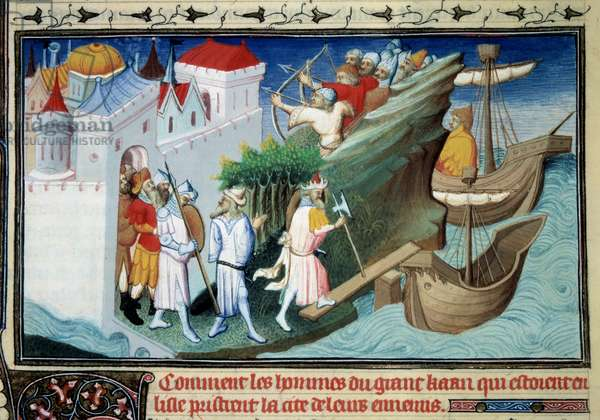 """The Great Khan against the Japanese or """"How the men of the Great Khan who surrounded the Island took the City of their enemies."""" Miniature taken from """""""" The Book of Wonders"""""""""""" by Marco Polo (1254-1324). Enluminated by Master of Egerton, 1409 - 1412. Ms 2810, folio 72. Paris, B N"""