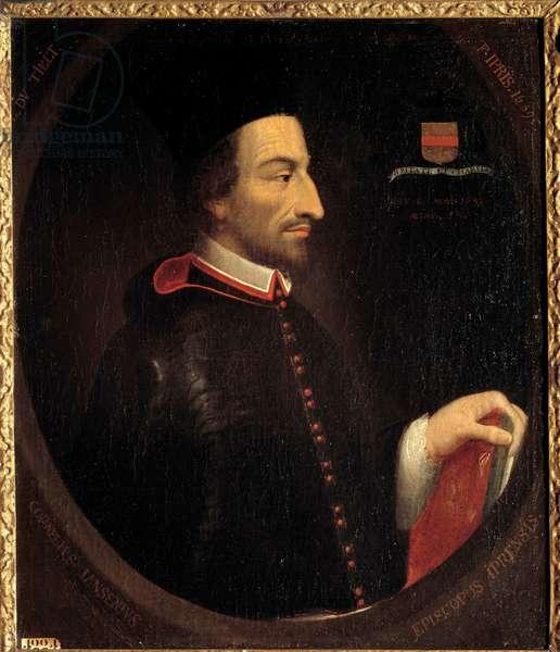 """Portrait of Cornelius Jansen, dit Jansenius"""""""", Eveque d'Ypres (1585-1638)"""""""" Painting by Louis Dutielt (1610-1669) 1659 Sun. 0,84x0,71 m"""