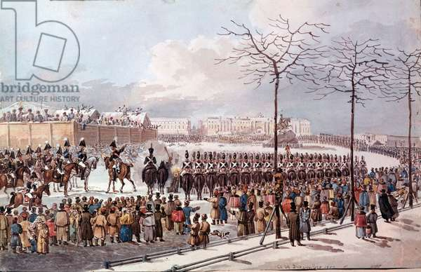 In 1825 Revolt of the Decembrists (Decabrists) in the future of Nicholas I to obtain a new constitution. Engraving from 1830. St. Petersburg. Hermitage Library