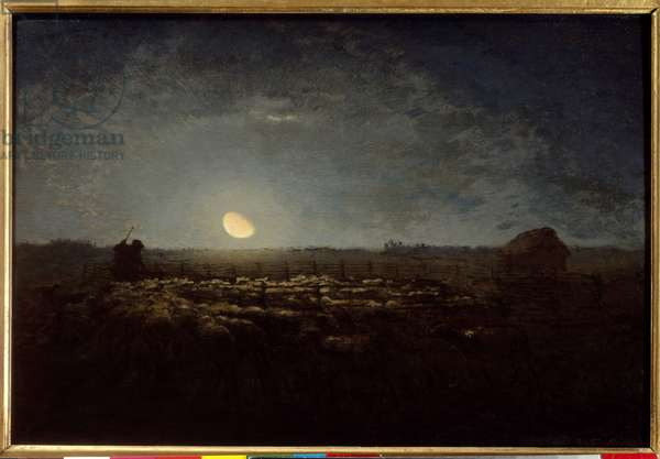 The sheep park, moonlight. Painting by Jean Francois Millet (1814 - 1875), 1872. Oil on canvas. Dim: 0,39 X 0,57m. Paris, Musee d'Orsay