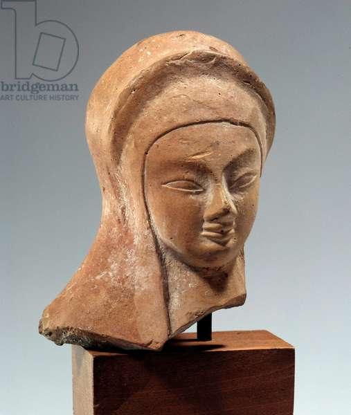 Greek art: Cycladic woman's head. Archaic period. 2700-2400 BC. Paris, Louvre Museum