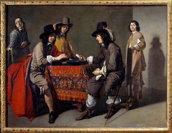 The players of tric trac (Trictrac or Trictrac: ancestor of backgammon). Oil on canvas. Painting by Mathieu Le Dwarf (Lenain) (1607-1677), 17th century, 96 x 123 cm. Paris, Musee Du Louvre - Tric Trac players (or Tric-trac: ancient game of backgammon). Oil on canvas. Painting by Mathieu Le Nain (Lenain) (1607-1677), 17th century, 96 x 123 cm. Louvre Museum, Paris