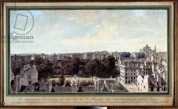 View of Paris taken from the belvedere of Monsieur Fournelle, rue des Boulangers saint Victor Drawing by Louis de Lespinasse (1734-1808) 18th century Paris. Carnavalet Museum